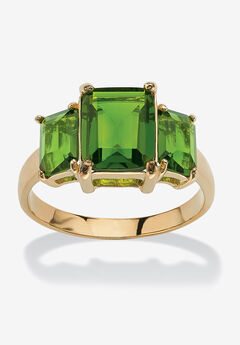 Yellow Gold-Plated Simulated Emerald Cut Birthstone Ring,