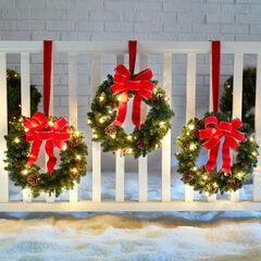 Set Of 3 Cordless Pre-Lit Mini Christmas Wreaths,