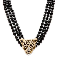 """Gold Tone Leopard Beaded Collar Necklace (49mm), Crystal, 20"""" plus 2"""","""