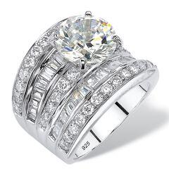 Platinum over Silver Engagement Ring Cubic Zirconia (7 1/7 cttw TDW),
