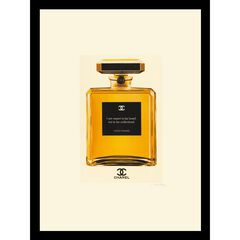 """Chanel Perfume Bottle Quote 14"""" x 18"""" Gold Framed Print,"""