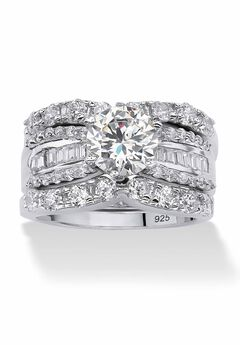 Platinum over Silver Bridal Ring Set Cubic Zirconia (5 5/8 cttw TDW),