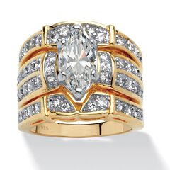 18K Yellow Gold over Sterling Silver Cubic Zirconia 3-Piece Bridal Set,