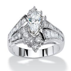 Platinum-Plated Marquise Engagement Ring Cubic Zirconia,
