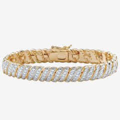 "Yellow Gold Plated Tennis Bracelet (10mm), Genuine Diamond Accent 7"","