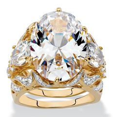 Gold-Plated Oval Cut Bridal Ring Set Cubic Zirconia (15 3/4 cttw TDW),