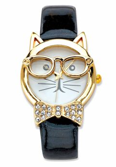"""Gold Tone Bowtie Cat Watch with Adjustable Black Strap 8"""","""