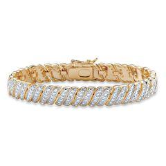 "Yellow Gold Plated Tennis Bracelet (10mm), Genuine Diamond Accent 7"","