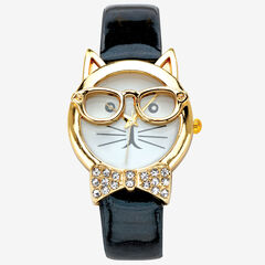"Gold Tone Bowtie Cat Watch with Adjustable Black Strap 8"","