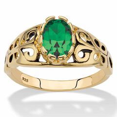 Gold over Sterling Silver Open Scrollwork Simulated Birthstone Ring,