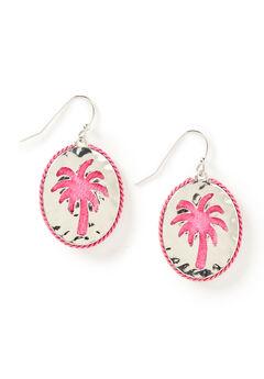 Pink Palm Drop Earrings,