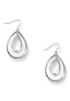 Rhinestone Double-Teardrop Earrings,