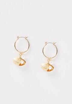 Seashore Charm Hoop Earrings,