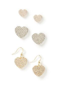 Pave Heart Earrings 3-Pack,
