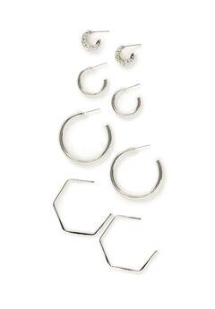Silvertone Hoop Earrings 4-Pack,