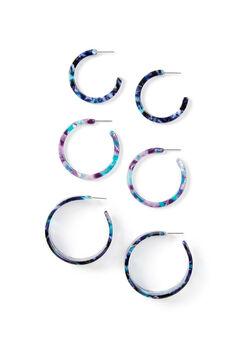 Marbled Resin Hoop Earrings 3-Pack,