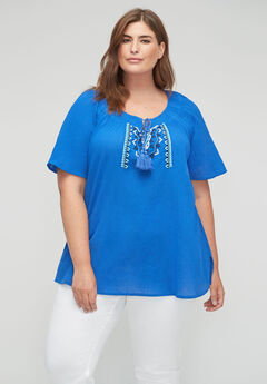 Hillside Embroidered Gauze Top,