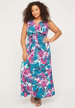 Expressive Twist-Knot Maxi Dress,
