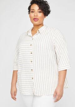 Mixed Stripe Linen Blend Buttonfront Tunic,