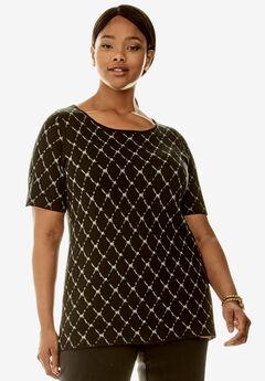 Elbow Sleeve Pullover, BLACK CHARCOAL GREY DIAMOND