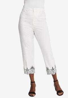 Stretch Poplin Straight-Leg Crop Pant,