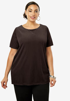 Velour A-Line Tunic, BLACK