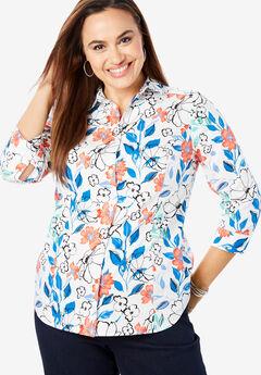 Three-Quarter Sleeve Poplin Shirt,