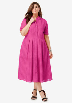 Eyelet Shirt Dress, TROPICAL RASPBERRY
