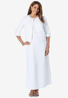 Beaded Jacket Dress, WHITE