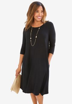 Three-Quarter Sleeve T-shirt Dress,