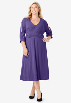 Slit Sleeve Midi Dress, MIDNIGHT VIOLET