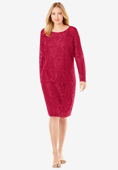 Lace Shift Dress, CLASSIC RED