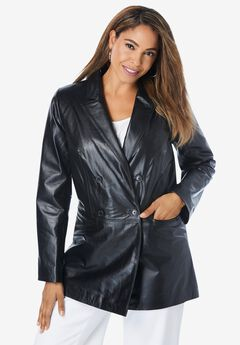 Double Breasted Leather Blazer,