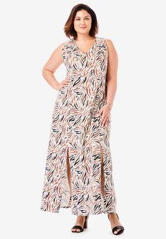 Denim A-Line Maxi Dress, NUTMEG ZEBRA