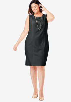 Bi-Stretch Sheath Dress, BLACK