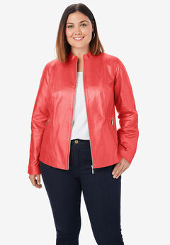 Zip Front Leather Jacket,