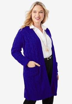 Cable Duster Sweater, TWILIGHT BLUE