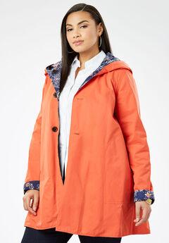 Reversible A-Line Raincoat, NAVY OPULENCE FLORAL