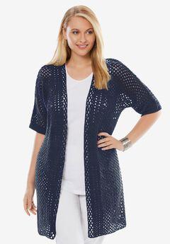Crochet Long Cardigan, NAVY
