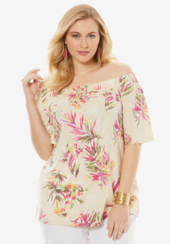 Off-the-Shoulder Linen Tunic, RADIANT ORCHID TROPICAL