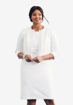 Lace Trim Jacket Dress, WHITE
