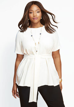 Tie-Front Tunic, IVORY