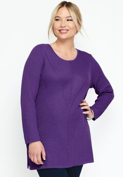 Ribbed Pullover Tunic Sweater,