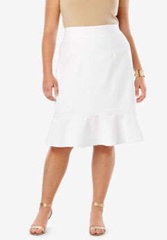 Flounced Bi-Stretch Skirt,