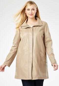 A-Line Zip Front Leather Jacket, NEW KHAKI