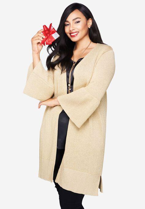 Metallic Bell Sleeve Cardigan Sweater Plus Size Cardigans Woman