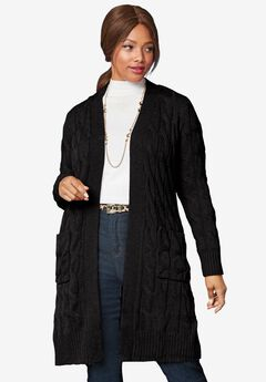 Cable Duster Sweater, BLACK