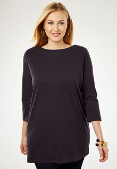 Refined Boatneck Tunic with Goldtone Buttons,