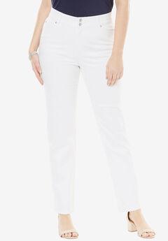 Tummy Control Straight Jean, WHITE