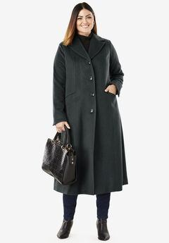 Full Length Wool Blend Coat, BLACK